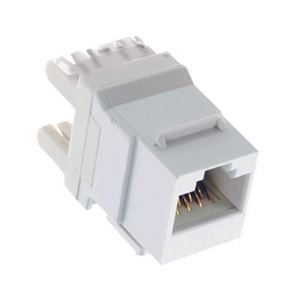 Steren 310-110WH CAT 5E Keystone Jack Insert White 180 Degree RJ45 Connector CAT5e Network 8P8C RJ-45 QuickPort 8 Wire Twisted Pair Modular Telephone Wall Plate Snap-In Insert Computer Data Telecom, Part # 310110-WH