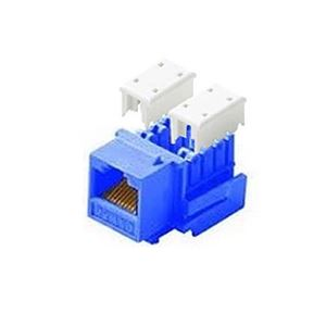 Eagle CAT5E Keystone Jack Insert Blue RJ45 110 Style 8P8C IDC RJ45 Connector Contacts One Piece RJ-45 8P8C Modular Cat 5e Network QuickPort 8 Wire Telephone Snap-In Computer Datacom Insert