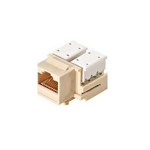 Steren 310-120LA CAT5e 90 Degree Keystone Jack Insert Light Almond Ethernet RJ45 Connector 110-IDC Insert Modular RJ-45 CAT 5e Network 8P8C 8 Wire Twisted Pair QuickPort Telephone Wall Plate Snap-In Insert Data Telecom, Part # 310120-LA