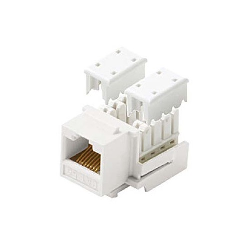 Eagle CAT5e Keystone Jack White RJ45 90 Degree 110 Punch Down Type Insert Modular Ethernet Connector Network 8P8C 8 Wire Twisted Pair QuickPort Modular Telephone Wall Plate Snap-In