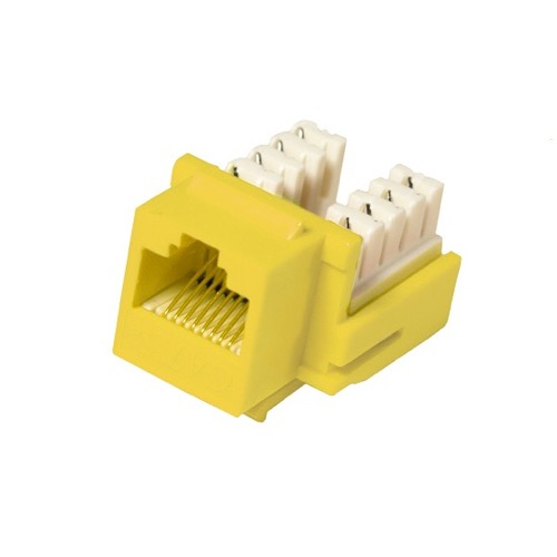 Eagle CAT5e RJ45 Keystone Insert Jack Connector Yellow 22-24 AWG 110-IDC Contacts 90 Degree Modular Ethernet Network 8P8C 8 Wire Twisted Pair QuickPort Telephone Wall Plate Snap-In Data Telecom
