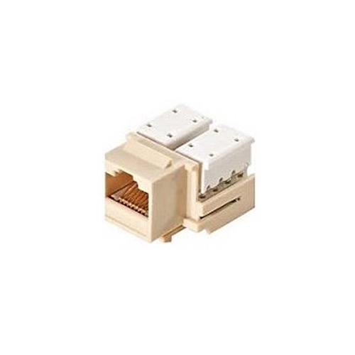 Steren 310-120AL CAT5e Keystone Jack Insert RJ45 Almond 90 Degree Ethernet Connector 110-IDC Modular CAT 5e Network 8P8C 8 Wire Twisted Pair QuickPort Telephone Wall Plate Snap-In Insert Data Telecom, Part # 310120-AL