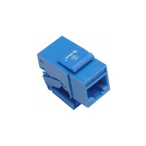 Steren 310-130BL CAT5E Jack Keystone Insert Blue Tooless Connector RJ45 110 IDC Contacts One Piece RJ-45 8P8C Modular Cat 5e Network QuickPort 8 Wire Telephone Snap-In Computer Datacom Insert, Part # 310130-BL