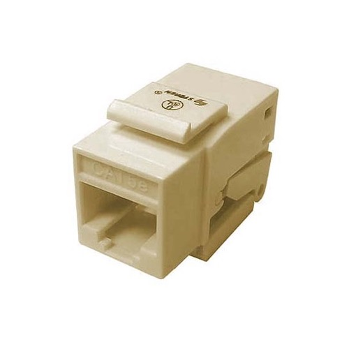 Eagle CAT5E Keystone Toolless Ivory Insert Jack RJ45 One Piece 8P8C Modular Coupler Cat 5 Connector Network Cat-5e RJ-45 QuickPort 8 Wire Telephone Snap-In Insert Computer Datacom