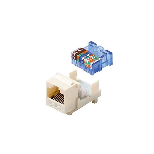 Steren 310-131WH CAT5E Keystone Jack Insert White Tooless RJ45 Connector CAT-5E Network 8P8C RJ-45 QuickPort 8 Wire Twisted Pair Modular Telephone Wall Plate Snap-In Insert Computer Data Telecom, Part # 310131-WH
