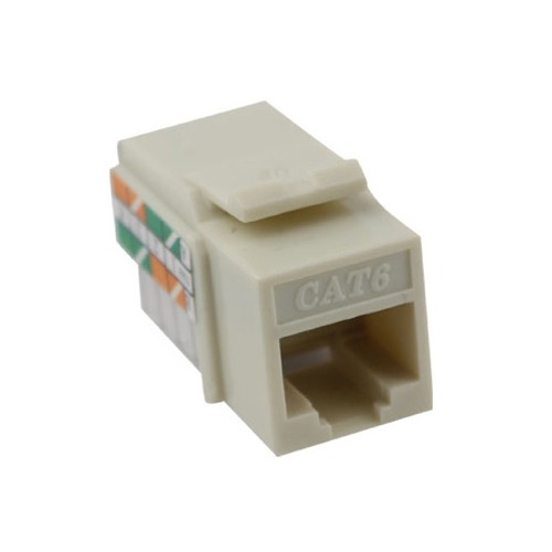 Eagle CAT6 Keystone Jack Insert Almond 110 Type RJ-45 Fast Media Network Connector 110 Punch Down 8P8C QuickPort RJ45 8 Pin Wire Twisted Pair Modular Wall Plate Snap-In Computer Telecom