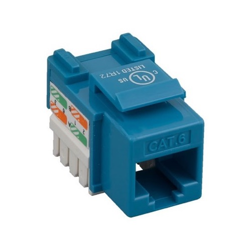 Eagle CAT6 Keystone Jack Blue Insert RJ45 110 Punch Down Connector Module Network 110 Punch Down 8P8C QuickPort Cat 6 RJ45 8 Pin Wire Twisted Pair Wall Plate Snap-In Telecom, Part # AC6KJBL