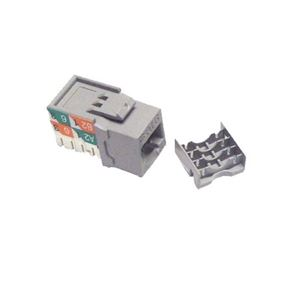 Channel Master CAT6 Keystone Insert Gray RJ-45 Jack Category 110 Style Connector Jack Module Network 8P8C QuickPort Cat6 RJ45 8 Pin Wire Twisted Pair Wall Plate Snap-In Telecom, Part # AC6KJGR