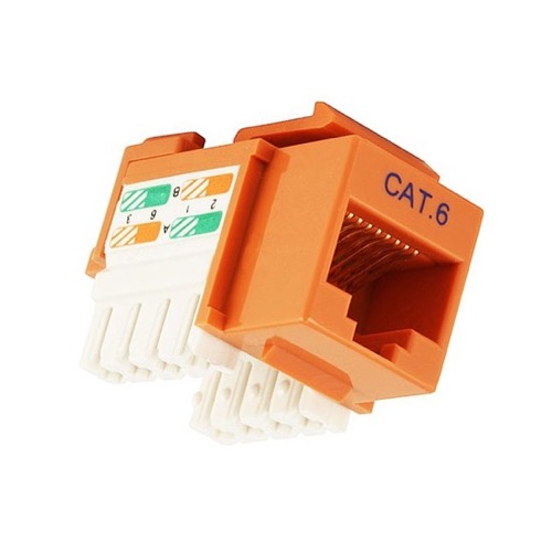 Steren 310-140OR Cat 6 Orange Keystone Jack Insert RJ45 Fast Media 22-24 AWG 110 IDC Insert Connector Module Network 110 Punch Down 8P8C QuickPort Cat6 RJ-45 8 Pin Wall Plate Snap-In Telecom, Part # 310140-OR