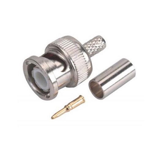 Steren 200-145 RG58 BNC Coaxial Connector 3 Piece Crimp on Commercial Grade Nickel Plate Male, Part # 200145