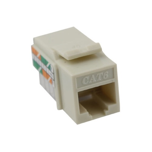 Eagle CAT6 Keystone Jack Insert Light Almond Toolless RJ45 Jack Connector One Piece RJ45 8P8C Modular Connector Network Cat-6 RJ-45 QuickPort 8 Wire Telephone Snap-In Insert