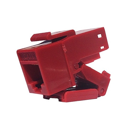 Eagle CAT6 Keystone Jack Insert Red RJ45 Tool-Less Connector Insert Fast Media One Piece 8P8C Modular Network QuickPort 8 Wire Telephone Snap-In Insert Computer Datacom