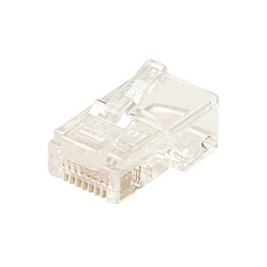 Steren 300-170-50 RJ45 Connector Round Stranded 50 Pack 8 Pin 8x8 Gold Plate 24-26 AWG 6 Micron 8P8C Male Modular RJ-45 Plug Connector 50 Pack Plugs, Part # 300170-50