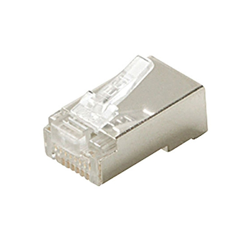 Steren 301-188-25 CAT5E RJ45 Connector Plug Stranded Shielded 3-Prong Modular 8 Pin Gold Plated Contacts UL 24-28 AWG Solid or Stranded RJ-45 25 Pack Network Ethernet Data Telephone Line Plug, Part # 301188-25