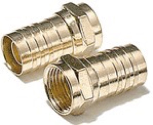 Steren 200-036 Crimp-On F-Connector RG-6 Gold Plate 2 Pack RG6 Coax Cable Connector Crimp-On Coaxial Crimp Plugs TV Digital Video Satellite Signal Component, Part # 200036