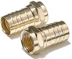 RG6 F-Type Crimp-On Connector Gold RG-6 2 Pack RG-6 Coax Cable Connector Crimp-On Coaxial Crimp Plugs TV Digital Video Satellite Signal Component