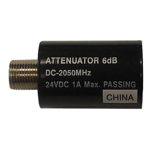 PCT 6 dB Attenuator 2 GHz 24 VDC Passive Inline Coupler 1A Max DC - 2050 MHz AC/DC F-Type 75 Ohm Female to Male Inline Passing Nickle Plated In-Line Coupler Connector 1 Pack, Part # 2806-IFD