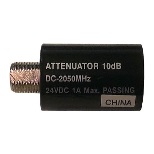 PCT 2810IFD 10 dB AC/DC Passive Attenuator 40-2150 MHz F-Type 75 Ohm Female to Male Inline 24 VDC 1A Max Passing Nickle Plated In-Line Coupler Connector 1 Pack, Part # 2810-IFD