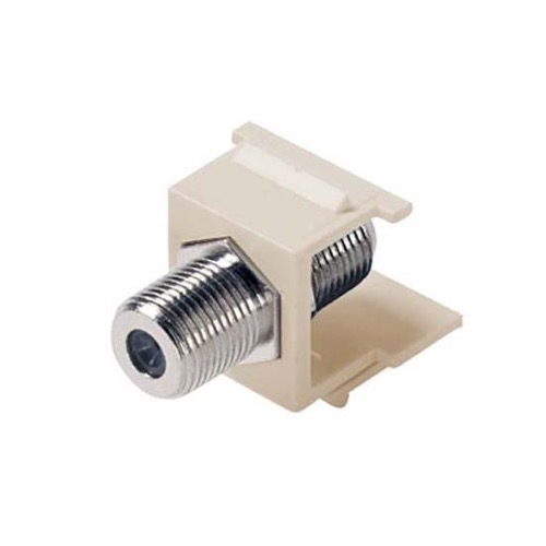 Steren 310-415LA F Keystone Jack Insert Light Almond Coupler Connector Barrel F81 75 Ohm Snap-In F-81 QuickPort Coax Cable TV Video Signal Plug Wall Plate Module Component, Part # 310415-LA