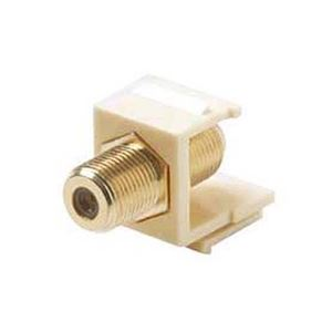 Steren 310-416IV Single F to F Gold Plate Keystone Insert Ivory F-Type Barrel Connector F81 Jack 75 Ohm Snap-In F-81 QuickPort Coax Cable TV Video Signal Plug Wall Plate Module Component, Part # 310416-IV