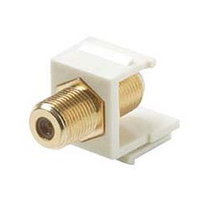 Eagle F Type Coupler Keystone Jack Insert Light Almond Gold Barrel Splice F-81 F-Connector Keystone Insert Gold Plate Light Almond F to F QuickPort Barrel Connector F81 Jack 75 Ohm
