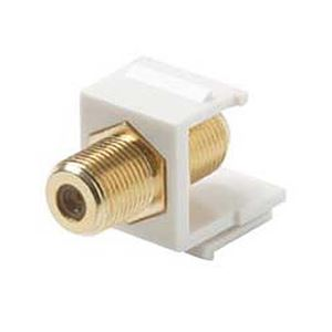 Eagle F-Connector Keystone Jack Insert White Gold Tone Coaxial Barrel F-81 Single F to F Barrel Connector 75 Ohm Snap-In F81 QuickPort Coax Cable TV Video Signal Plug Wall Plate Module Component