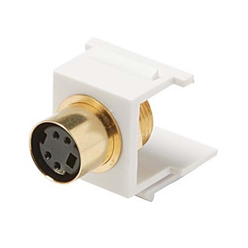 Eagle S-VHS Female to Solder Back Keystone Insert Jack White Solder Type Connector Module Gold QuickPort Snap-In Signal Wall Plate Module Component