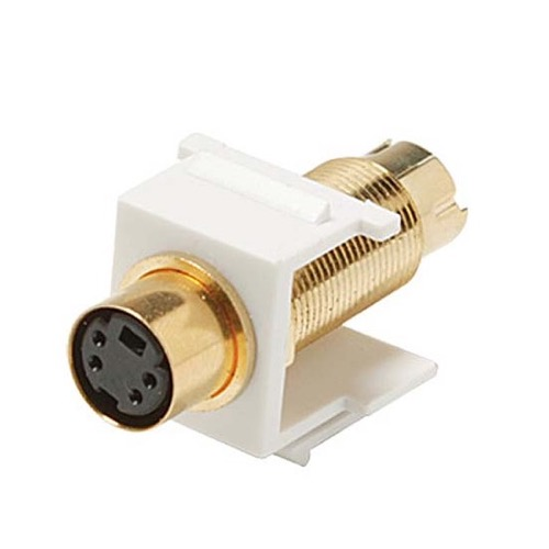 Keystone Modular Insert S-Video Female to Male S-VHS White Coupler Jack Connector Gold QuickPort Snap-In Signal Wall Plate Module Component, Part # Steren 310-451WH
