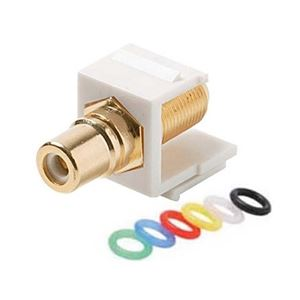 Steren 310-454WH Keystone RCA Female Jack to F Adapter White Keystone RCA Insert Coupler F-81 Male to RCA Female White Jack Connector Module Gold QuickPort Snap-In Signal Wall Plate Module Component, Part # 310454-WH