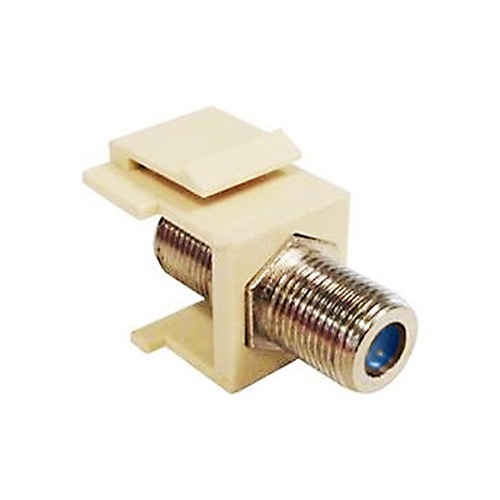 Eagle F to F Keystone Jack Insert 3 GHz Almond F-81 Connector Female Coaxial RG59 RG6 High Frequency F-81 Jack Snap-In QuickPort 75 Ohm TV Signal Plug Wall Plate