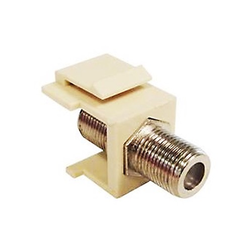 Channel Master High Frequency F to F Keystone 3 GHz Insert Ivory Single F81 Jack Snap-In QuickPort 75 Ohm Coax Video Cable TV Signal Plug Wall Plate Module Component Connector, Part # AF813GSI