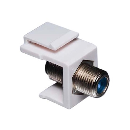Eagle F to F Keystone Jack Insert 3 GHz White F81 Connector Female Coaxial Modular Connector Female to Female RG59 RG6 Channel Master High Frequency F-81 Jack Snap-In