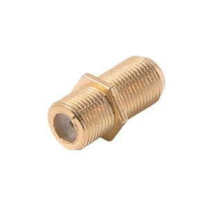 Steren 200-051 Gold Plate F Coupler Female to Female Barrel Splice Inline Connector Single 1 Pack Adapter Joiner In-line Coaxial Plug Double Female In Line AV Signal Component Connect, Part # 200051