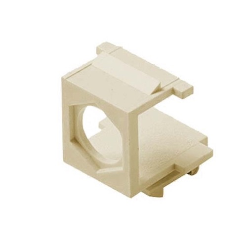 Eagle F Type Blank Keystone Jack Insert Ivory Module F-Connector Blank Wall Plate Module A/V QuickPort Thru Port Snap-In with Hole Coaxial Cable TV Wire Run