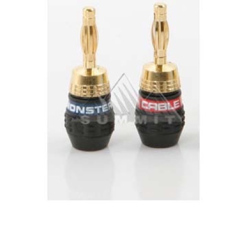 Monster Cable QuickLock Gold Banana QL GMT-B Speaker Connector Male Banana from Monster Cable Products 24k Gold Plated 1 Pair 2-Lot Two Piece Screw-On Self Termination 1 Red / 1 Blue Crimpless Audio Connector, Part # QL GMTB