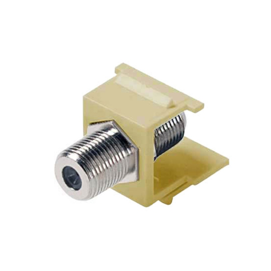 Steren 310-415IV-10 F-Connector Keystone Insert Ivory Type Barrel Jack 75 Ohm Snap-In F81 Connector QuickPort Coax Cable TV Video Signal Plug Wall Plate Module Component, 10 Pack, Part # 310415-IV-10