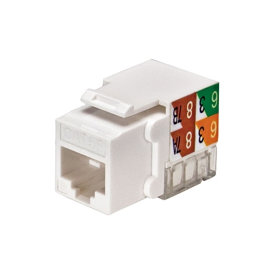 Channel Master CAT5E Keystone Jack White RJ45 Multi Media Insert Jack Connector Network 8P8C CAT-5e RJ-45 QuickPort 8 Wire Twisted Pair Modular Telephone Wall Plate Snap-In Computer Data Telecom, Part # AC5EKJW