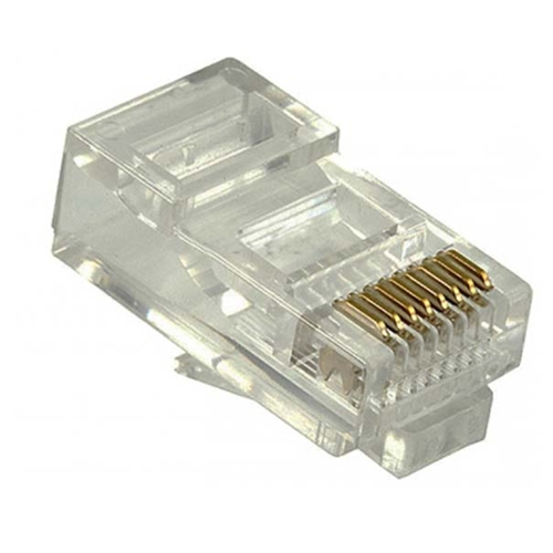 Steren 300-168 8X8 Round Solid RJ45 Modular Plug 24-26 AWG 6 Micron 24K Gold Plated 8P8C Male Modular Plug Connector 1 Pack 8 Pin Male Network Connector Data Telephone Line RJ-45 Plugs, Part # 300168