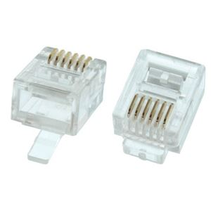Eagle RJ12 Plug Connector 25 Pack Modular Stranded Flat Round 6P6C Telephone 6 Pin RJ-12 Conductor Audio Data Signal Snap-In Phone with Gold Contacts, Contractor Grade