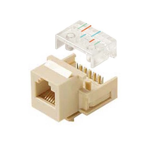 Channel Master CAT3 RJ12 Phone Jack Insert Keystone Ivory 6-Wire Conductor 6P6C RJ11 Modular Telephone Insert Gold RJ-11 / RJ-12 QuickPort Wall Plate Plug Snap-In Connector, Part # AC3KJIV