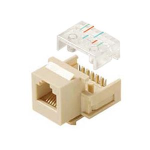 Steren 310-106IV Telephone Insert Jack 6 Conductor RJ12 CAT3 Ivory Gold RJ-11 / RJ-12 Keystone Wall Plate Modular RJ11 Plug Connector 6 Wire QuickPort Snap-In for Data Signal Transfer, Part # 310106-IV