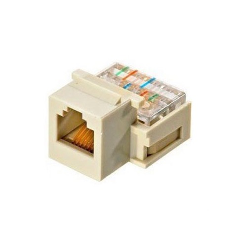 Channel Master AC3KJAL CAT3 Snap-In Keystone Jack RJ12 Almond 6P6C 6 Conductor Telephone Insert RJ-12 CAT-3 Modular Plug QuickPort Snap-In Line with Gold Contacts for Signal Transfer, Part # AC3KJAL