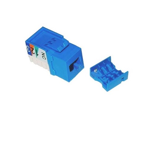 Steren 310-108BL CAT3 Keystone Jack Insert Blue RJ45 8-Conductor Network Telephone 8P8C QuickPort RJ-45 Jack Category-3 Telephone Data Line Plug Jack, Part # 310108-BL