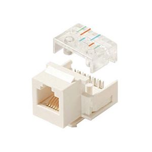 Steren 310-106WH White Telephone Keystone Jack Insert 6-Conductor 6P6C RJ12 CAT3 Modular RJ-12 Plug QuickPort Snap-In Telephone Line with Gold Contacts for Data Signal Transfer, Part # 310106-WH