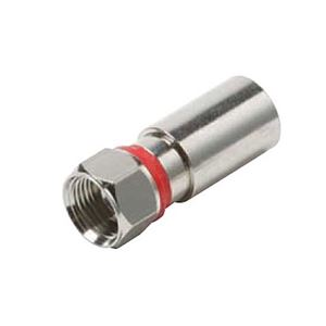 Eagle RG59 Compression Connector F Type PermaSeal Weatherproof Design Coaxial Cable PermaSeal II Nickel Plated Red Band 1 Single Pack Coax RG-59 PermaSeal F Connector