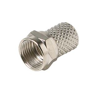 Steren 200-040 Twist-On F-Connector RG59 Nickel Plated RG-59 Coaxial Cable Connector 1 Pack Tool Less Antenna Video Data Signal Connectors, Part # 200040