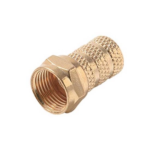 Steren 200-041 RG-59 Twist-On Coaxial F Connector Gold Plated Brass RG59 Coax Cable 1 Pack Signal Plug Connector Single Video Plug Coaxial Cable Connector, Part # 200041