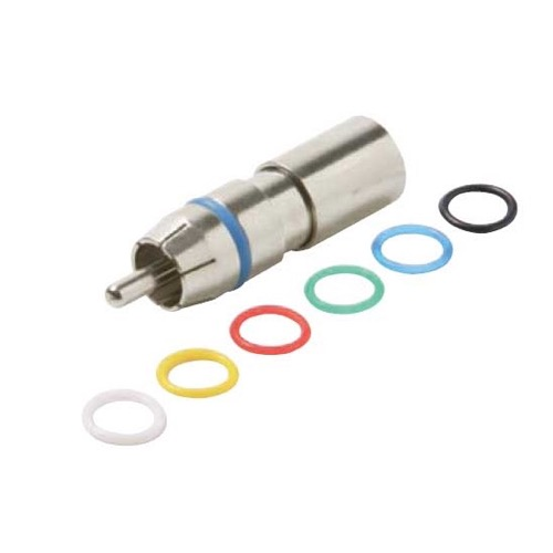 Steren 200-067 RCA Compression Connector RG6 Coaxial Plug Male Permaseal II Commercial Grade Six Color Rings Precision Nickel Plated A/V RG-6 Connectors RCA Perma Seal with 6 Color Bands, 1 Pack, Part # 200-067