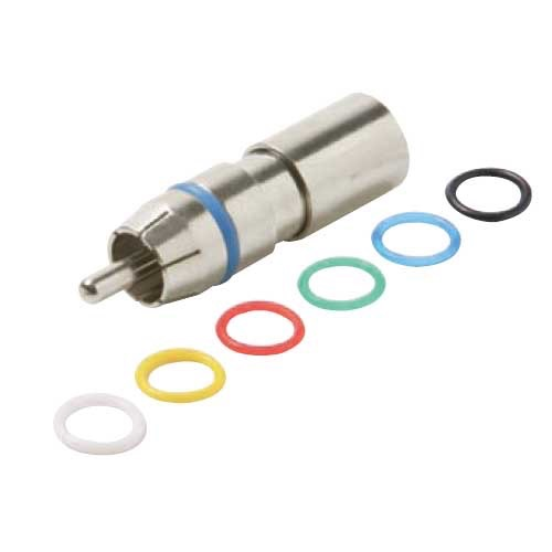 Steren 200-068 RCA Compression Connector RG59 Coaxial Permaseal II Six Color Rings Precision Nickel Plated A/V RG-59 Connectors RCA Perma Seal with 6 Color Bands, 1 Pack, Part # 200-068