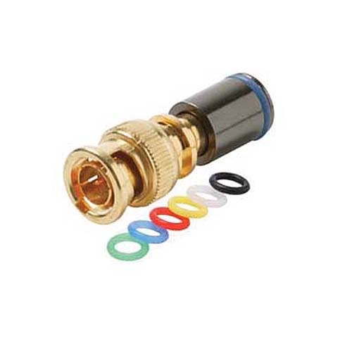 Steren 200-082 Mini RG-59 BNC Compression Connector with 6 Color Bands Permaseal II Gold Plate Coaxial Cable Snap-On Line Plug Adapter, RF Digital Audio Video RG59 Component Connection